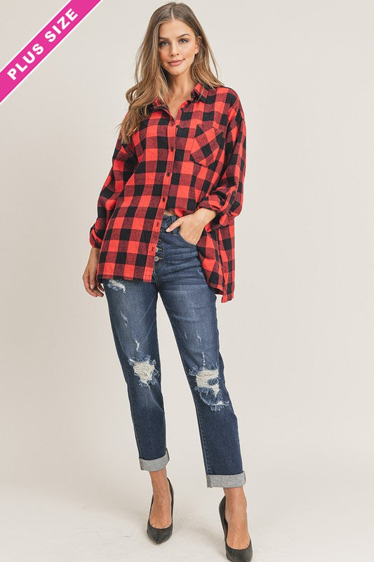 Oversized Buffalo Plaid Shirt - VOLUME