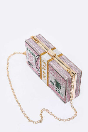 Stack Of Cash Crystal Iconic Clutch