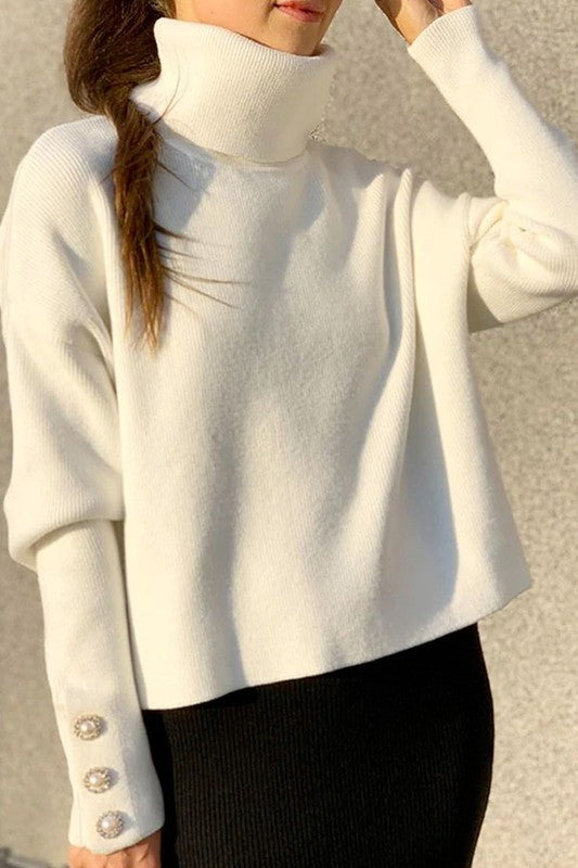 White Button Detail Turtleneck Sweater