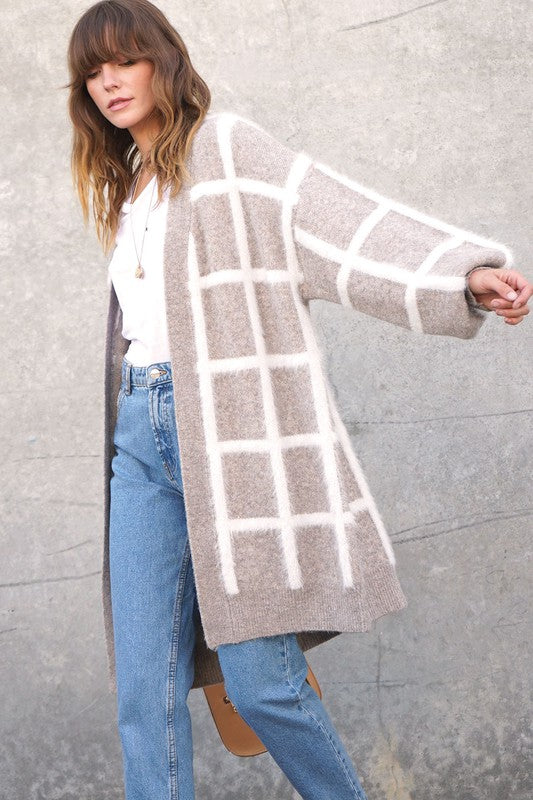 Grid Cardigan Sweater