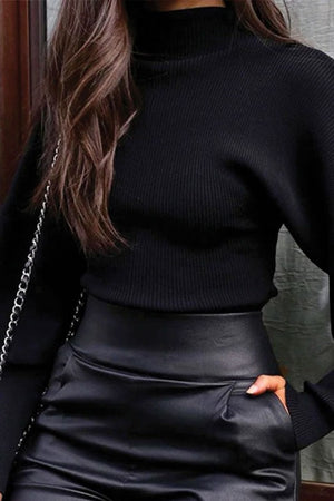 Black Balloon Sleeve Sweater