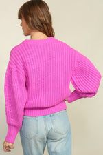 Magenta Balloon Sleeve Sweater
