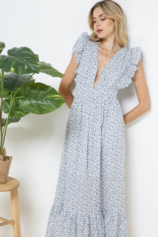 August Floral Ruffle Maxi Dress