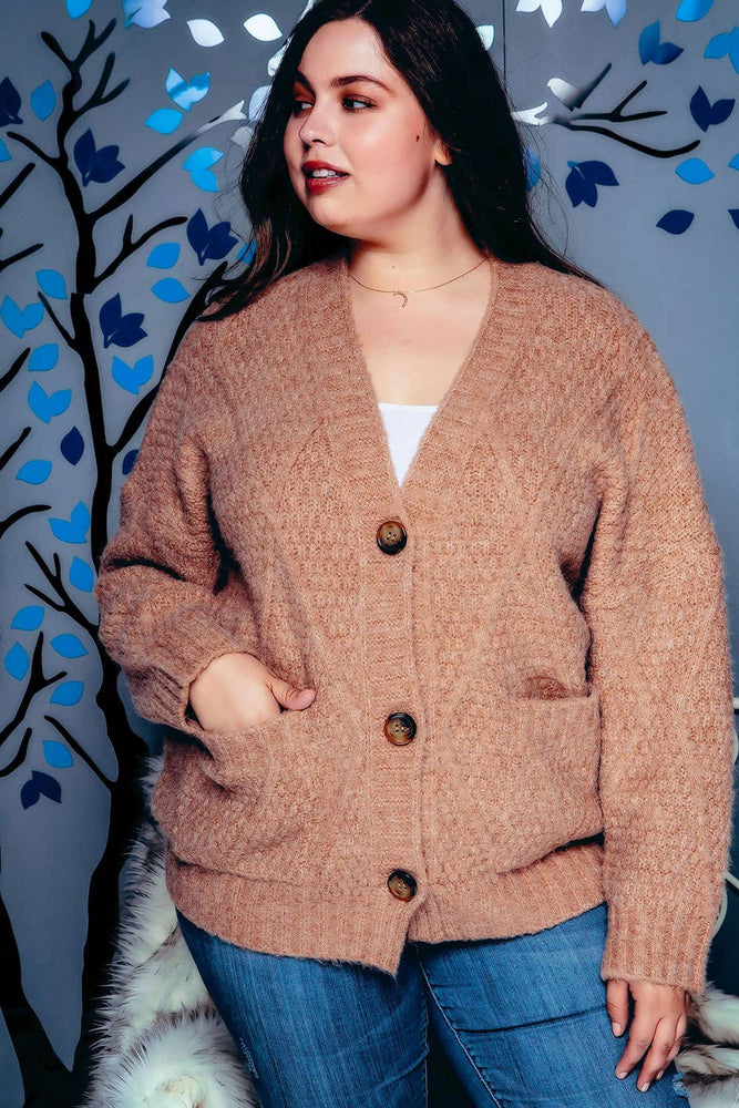 Camel Oversized Cardigan- VOLUME