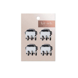 Square Hematite Mini Claw Clips - Set of 4