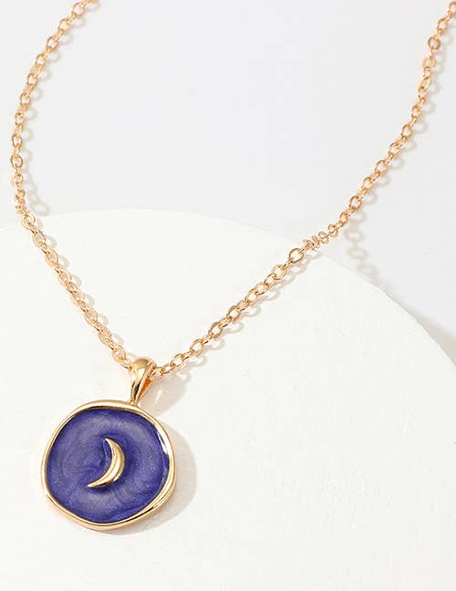 Blue Moon Enamel Necklace