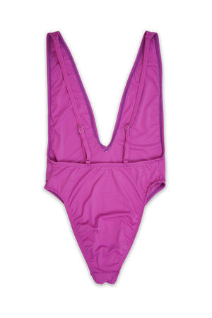 Low V-Neck Cheeky Coverage One Piece in Purple
