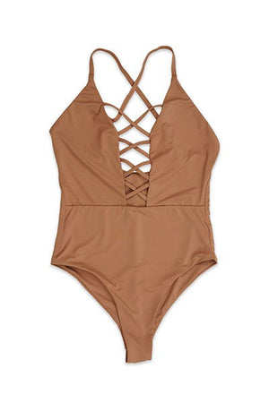 Seamless Caged Front One Piece in Rosedawn