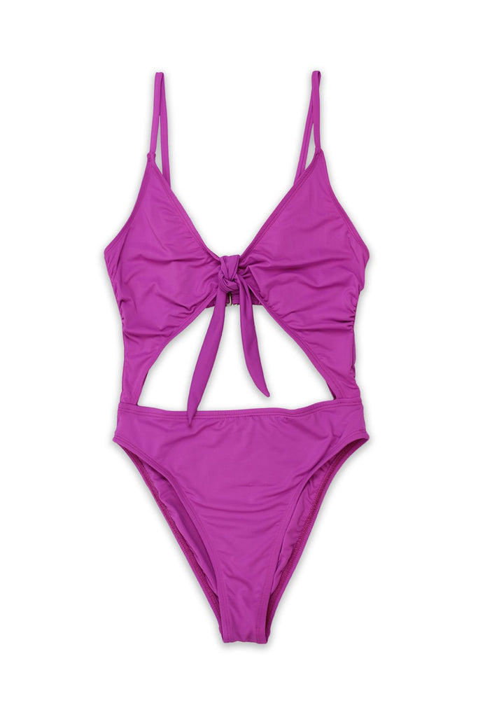 d71e6b5650 Tie Front Cheeky Coverage One Piece in Purple - $ 69.00 USD · Seamless  Cheeky Hi Waist Banded Bottom ...