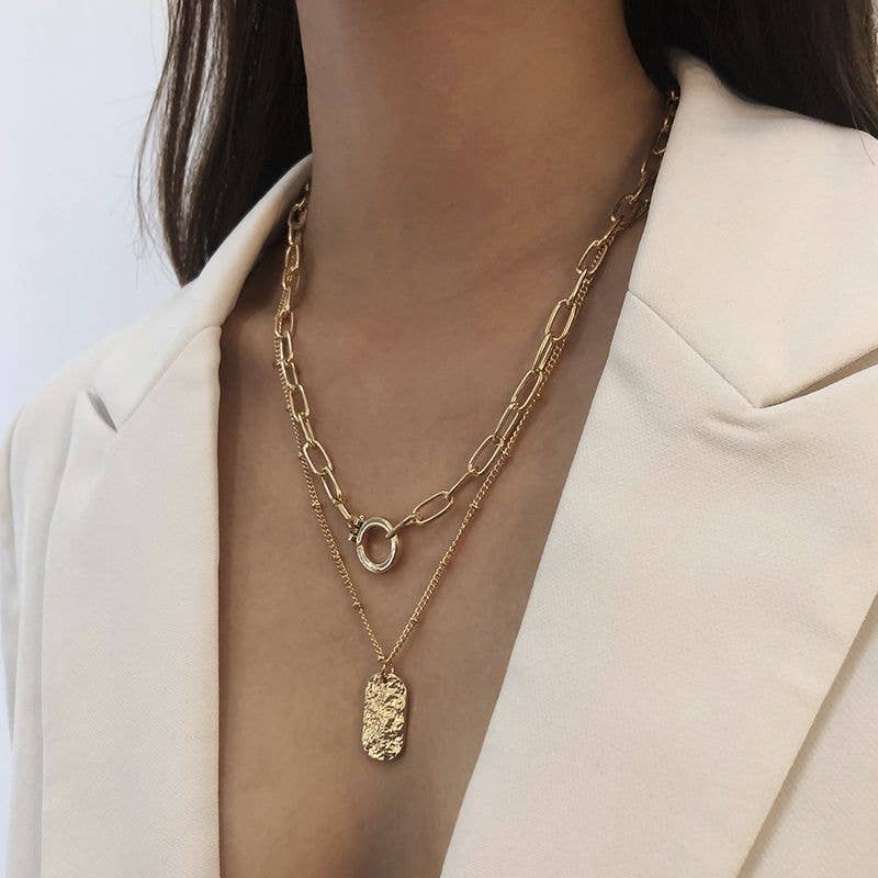 Kirby Double Gold Chain Charm Necklace Set