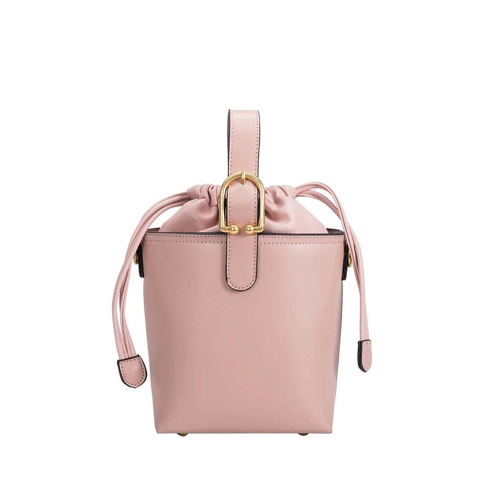 Alexis Vegan Crossbody Bucket Bag in Blush