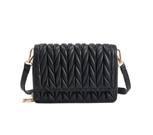 Giselle Quilted Vegan Crossbody Bag in Black