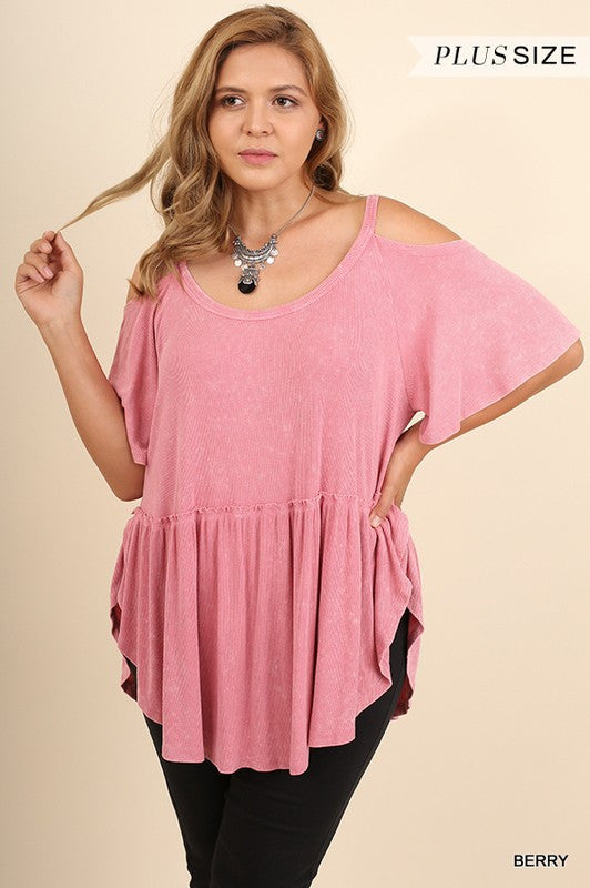 Berry Cold Shoulder Top