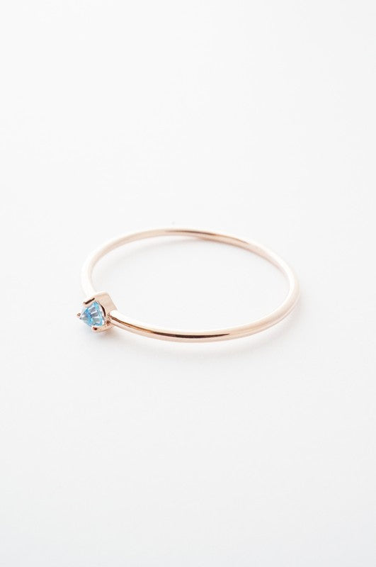 Aquamarine Crystal Point Solitaire Ring in Rose Gold
