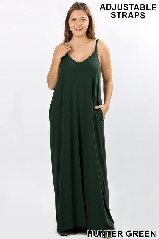 V-Neck Cami Maxi Dress Hunter Green - VOLUME