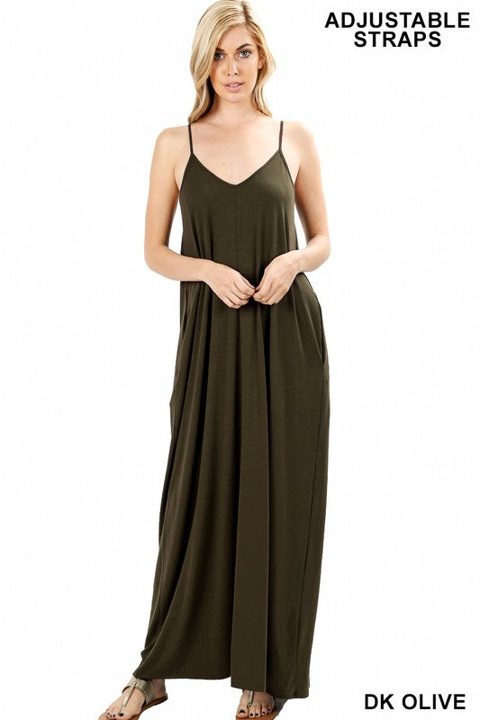 V Neck Dark Olive Maxi Dress