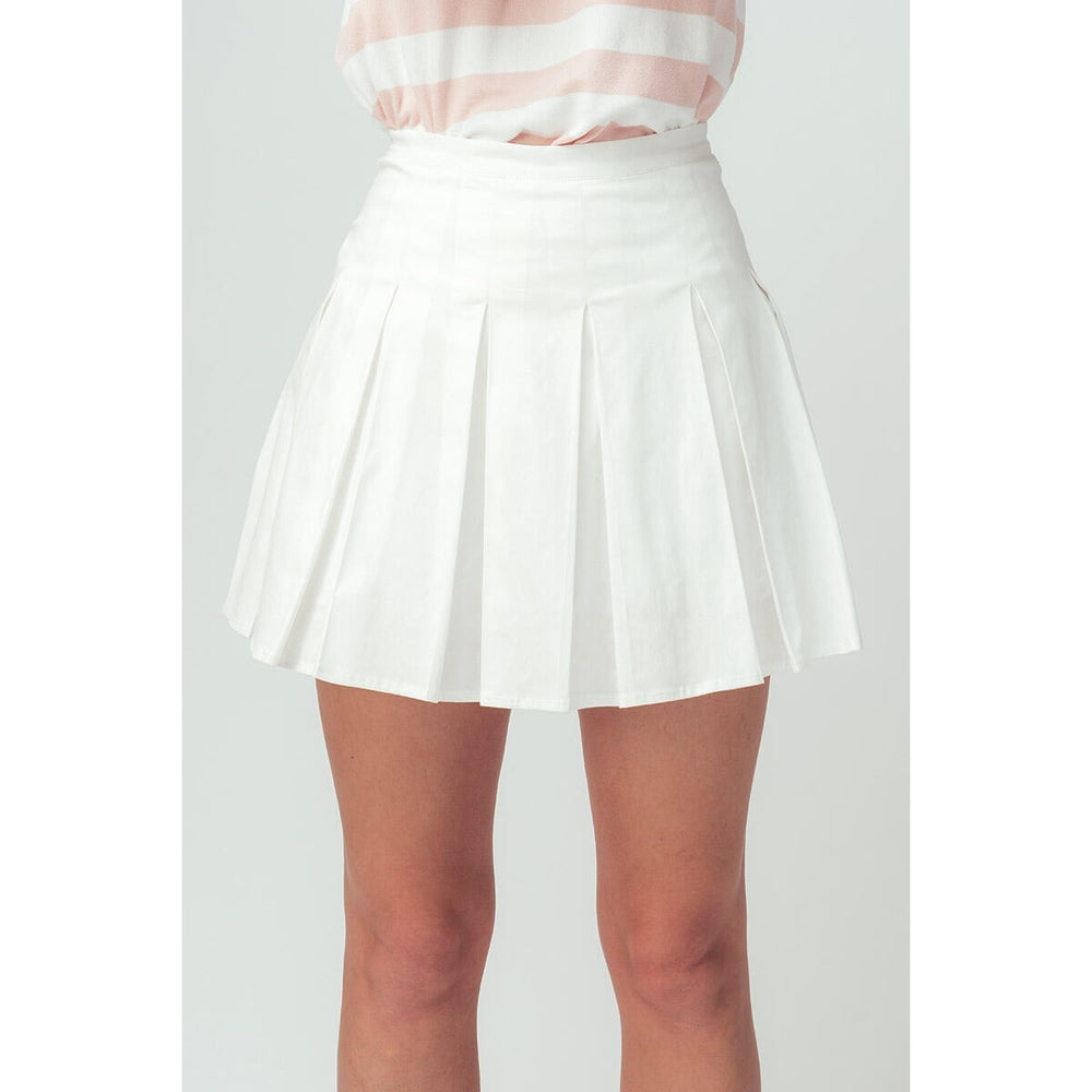 White Pleated Skort