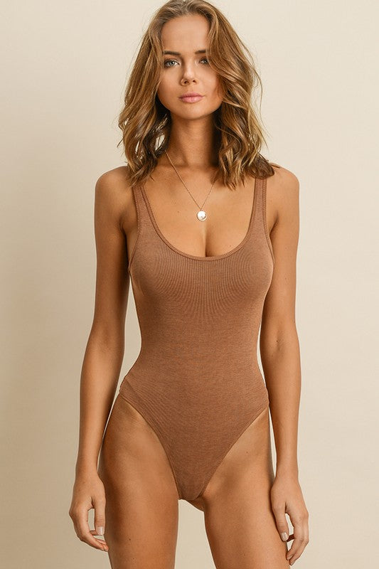 Tan Ribbed Tank Body Suit