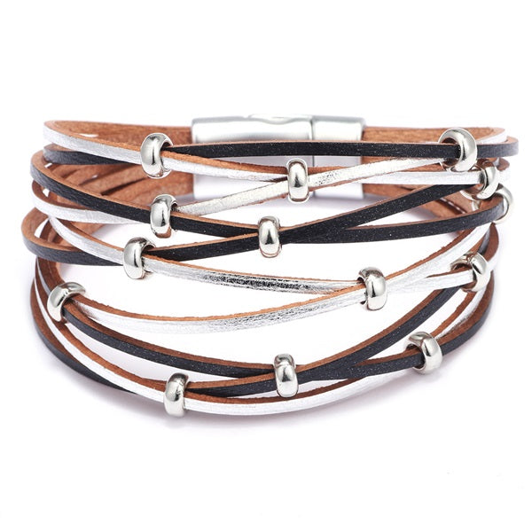 Black and Silver Bead Criss Cross Leather Bracelet