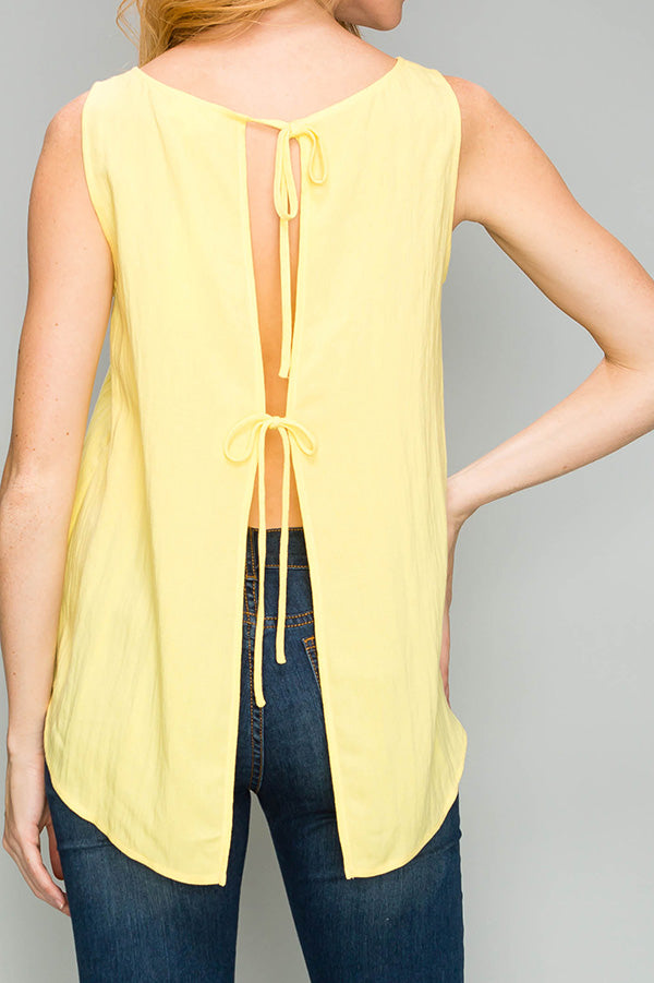 Woven Back Tie Top in Yellow