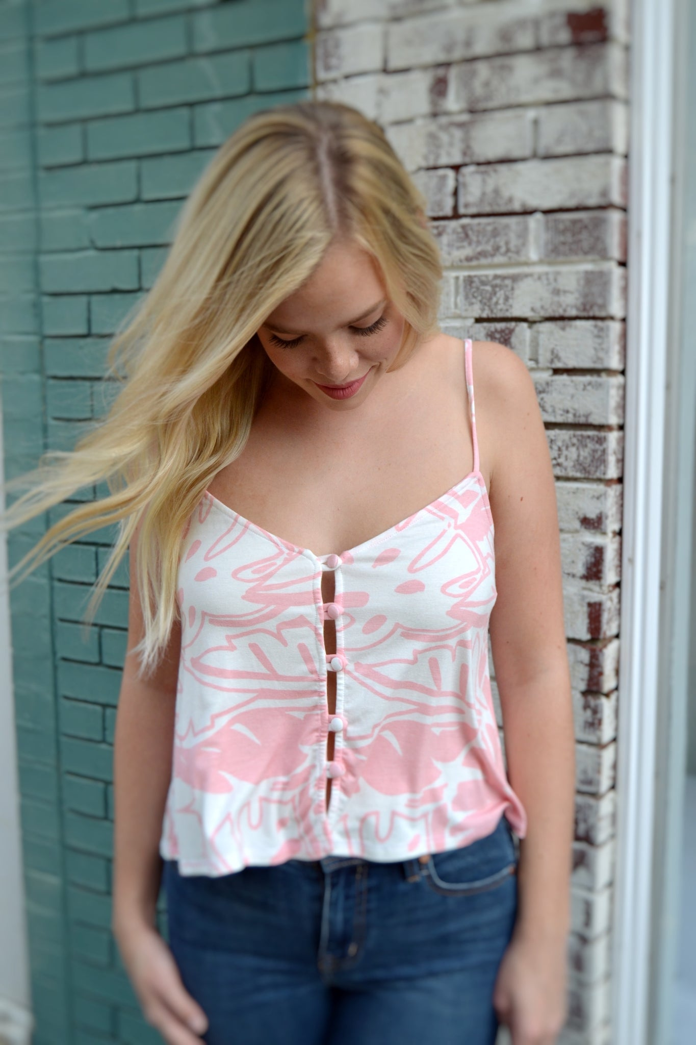 Pink Palm Mary Top