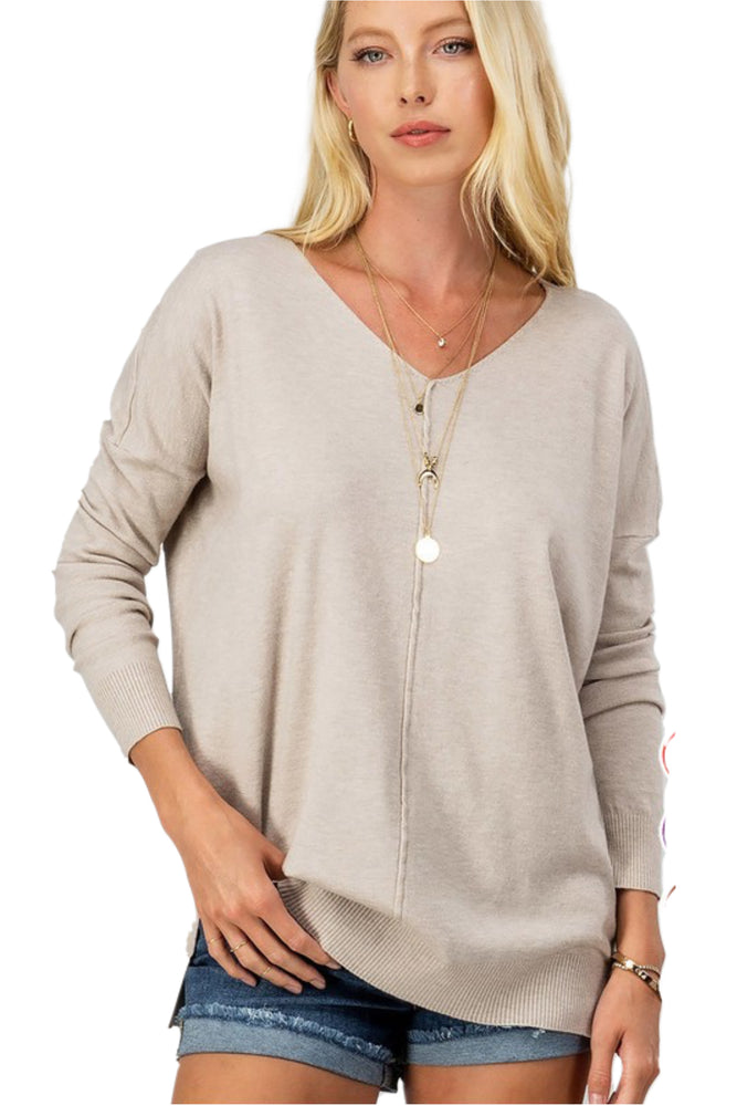 Super Soft V Neck Oatmeal Sweater