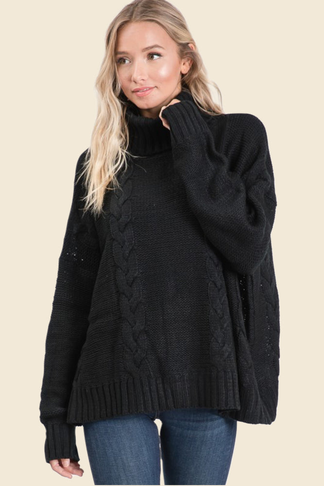 Black Oversized Cable Sweater - VOLUME