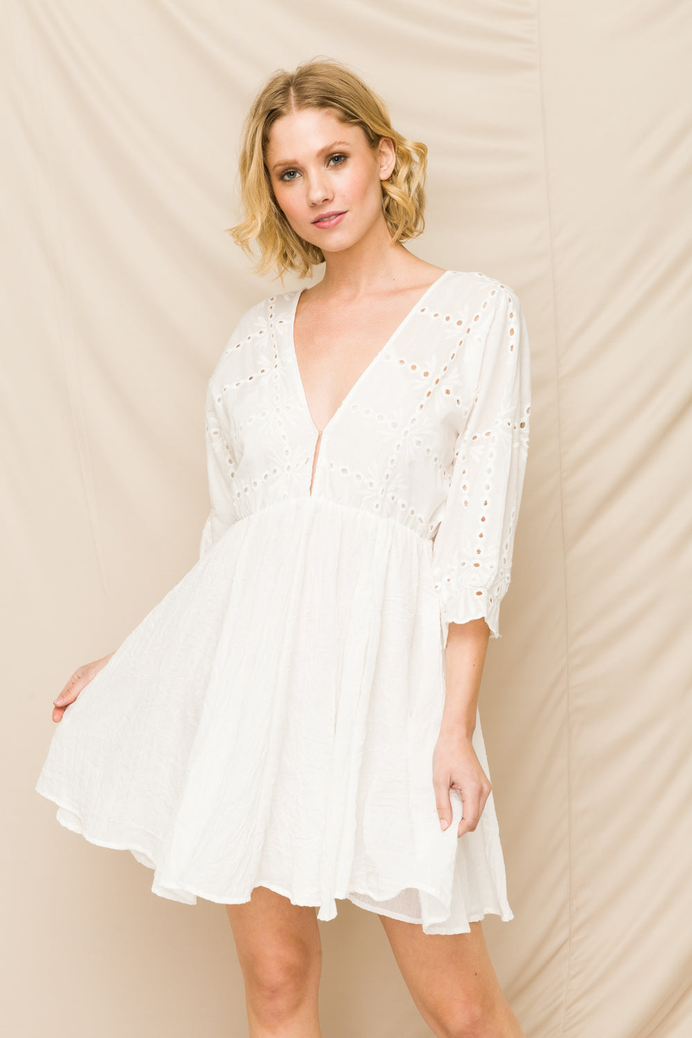 Boho Eyelet Top White Dress