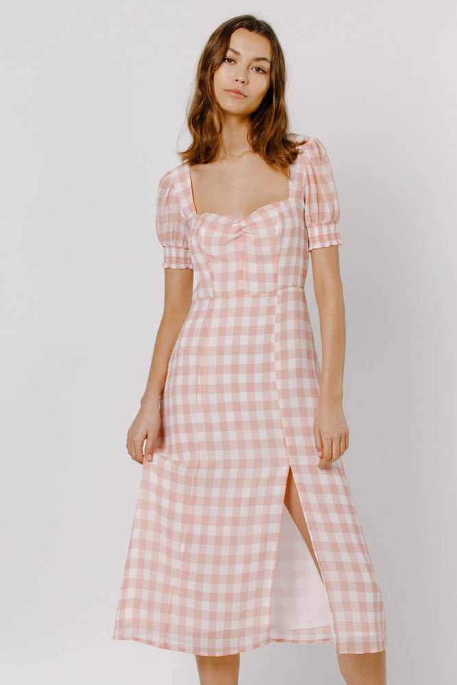Pink Gingham Sheer Midi Dress