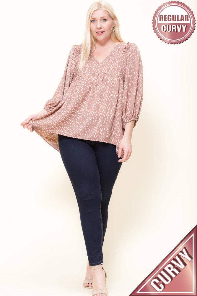 Mauve Dot Blouse- VOLUME