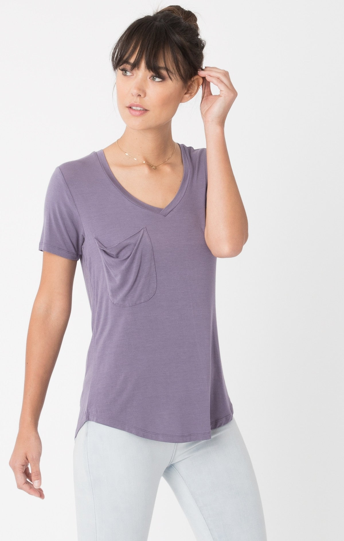 The Sleek Jersey Pocket Tee in Purple Sage