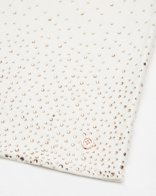 Cream Crystal Stud Knitted Snood