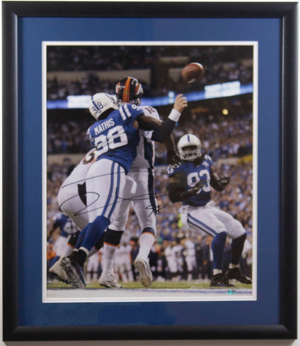 "Robert Mathis ""Peyton Tackle"" Autographed 16x20 Framed"