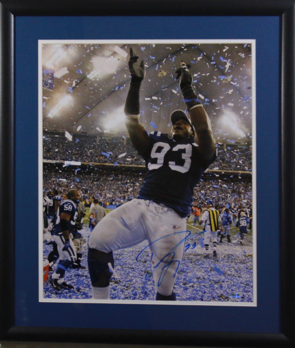 "Dwight Freeney ""Celebrating"" Autographed Framed 16x20"
