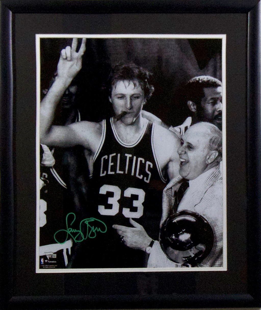 Larry Bird Boston Celtics 'Cigar Celebration' Autographed Framed 16x20