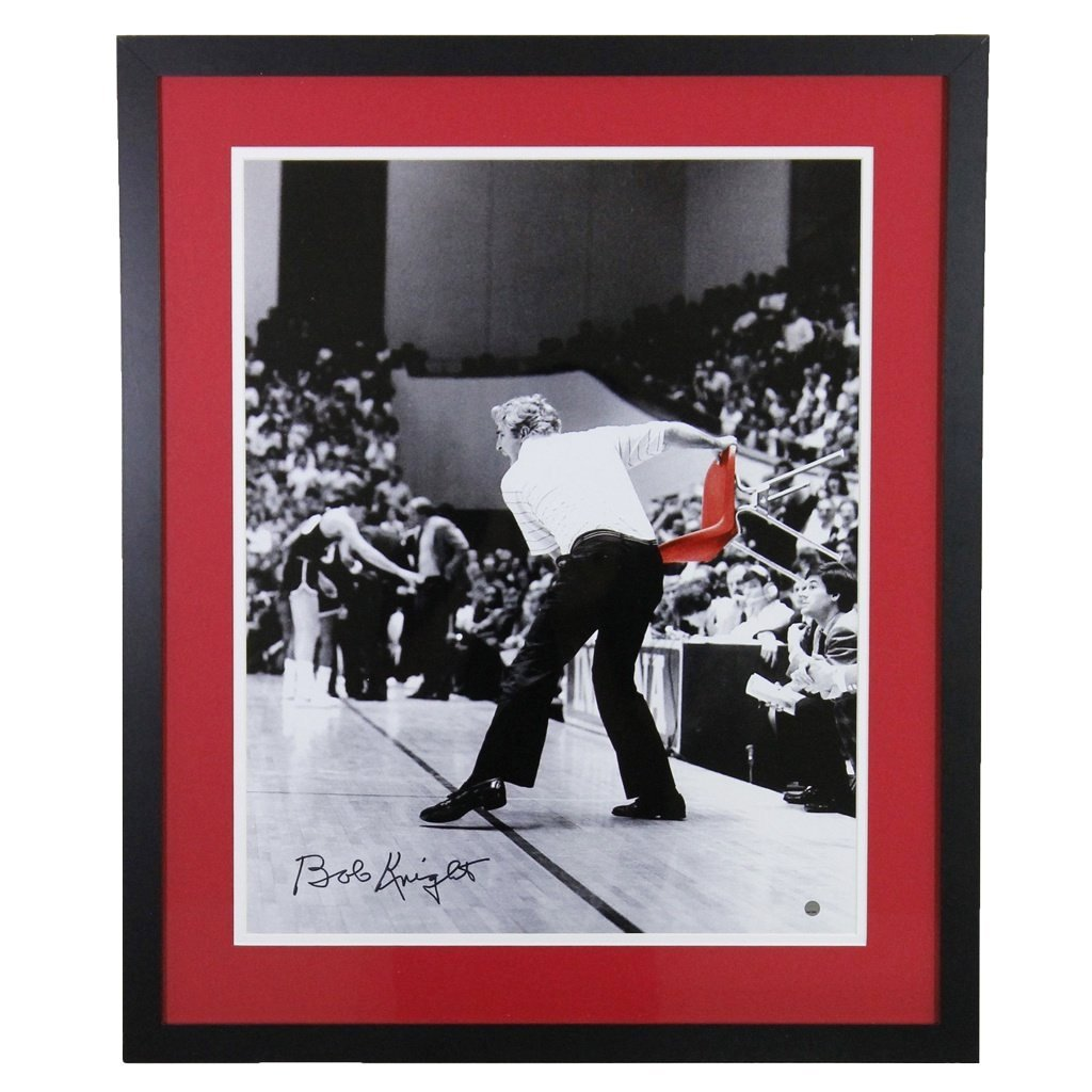 Bob Knight Indiana Hoosiers Red Chair Throw Autographed Framed 16x20