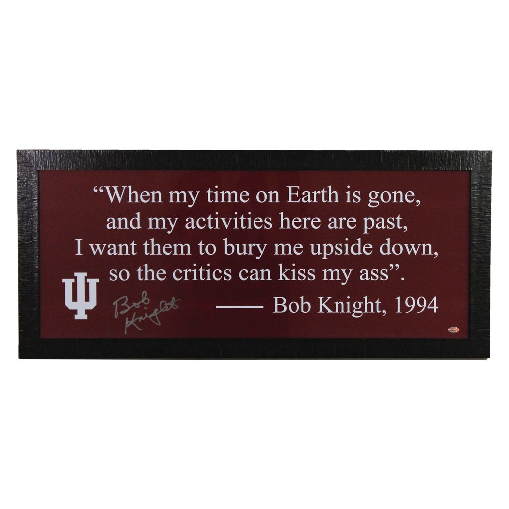 Bob Knight Indiana Hoosiers Autographed Quote Framed Display