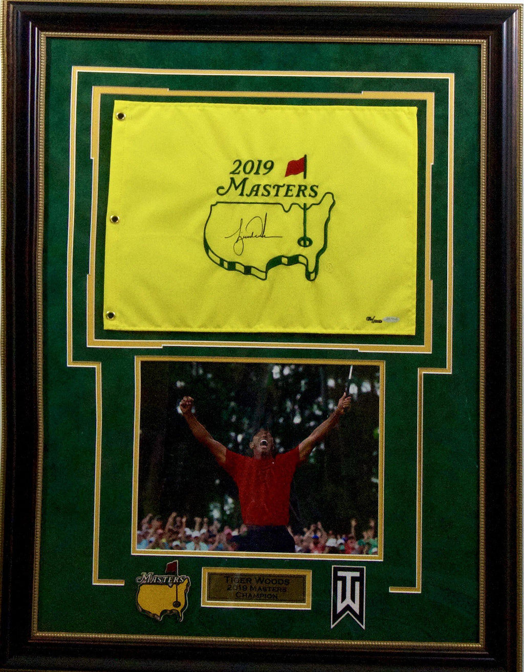Tiger Woods Autographed 2019 Masters Flag Display