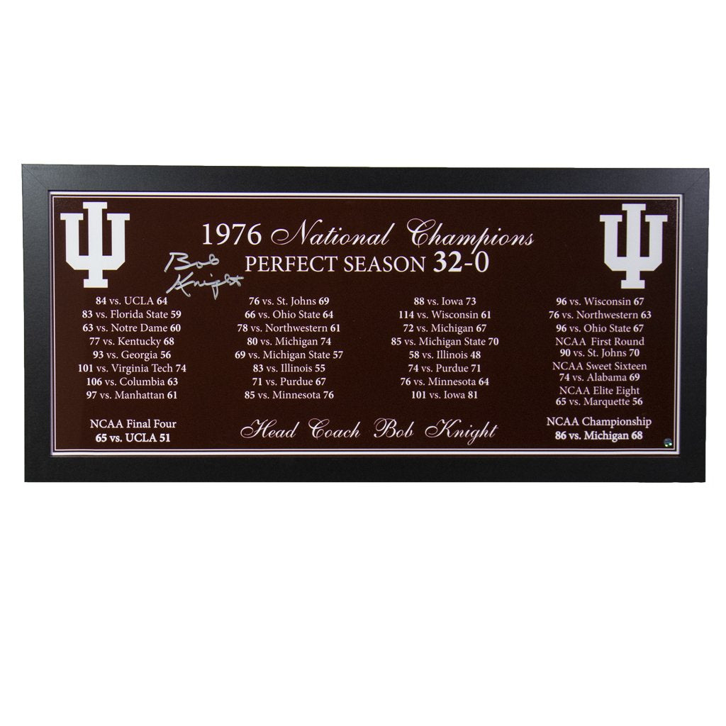 Bob Knight Indiana Hoosiers '1976 National Champions' Autographed Framed Display