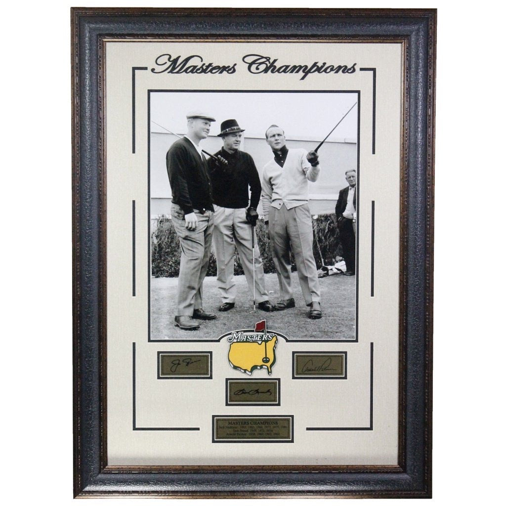 Sam Snead, Arnold Palmer, and Jack Nicklaus Masters Champions Replica Signatures Framed Display