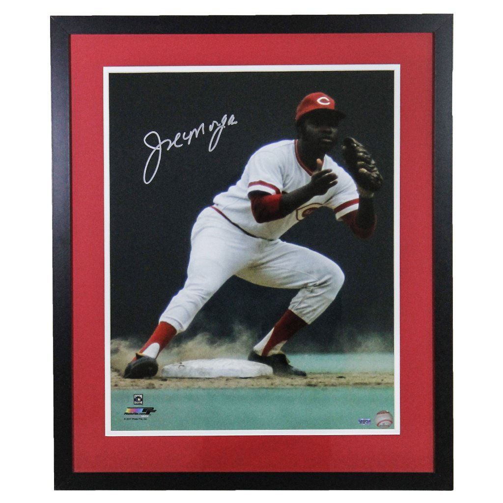 Joe Morgan Cincinnati Reds 'Fielding' Autographed Framed 16x20