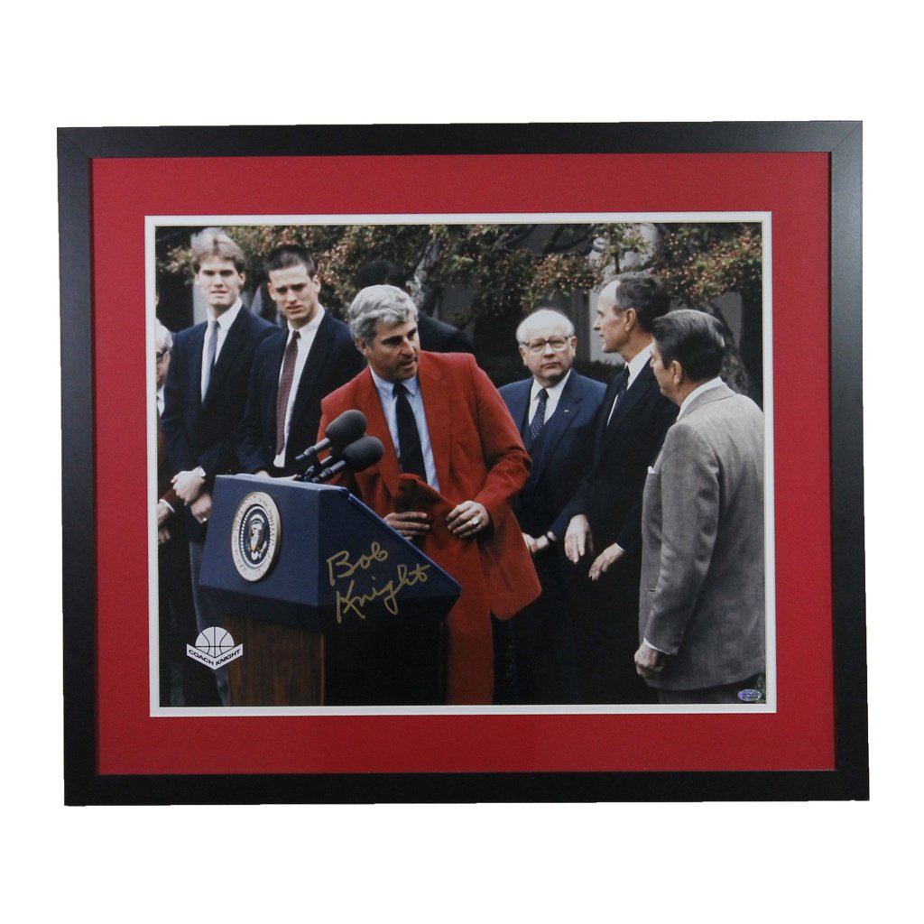 Bob Knight 1987 White House Visit Autographed Framed 16x20
