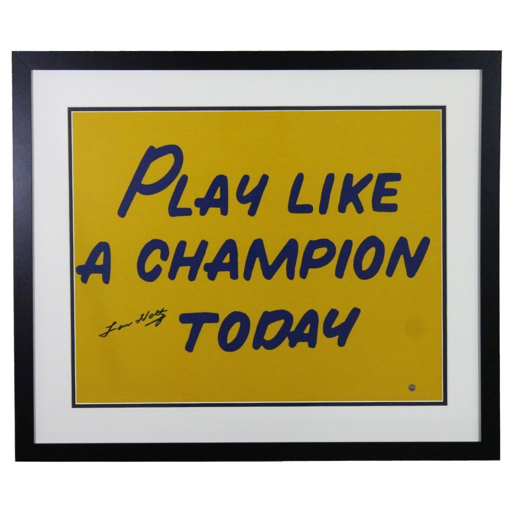 Lou Holtz Notre Dame Fighting Irish 'Play Like a Champion Today' Autographed Framed 16x20