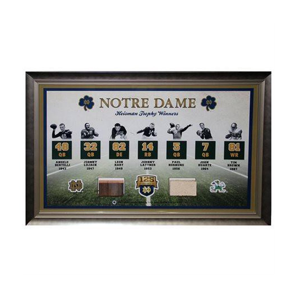 Notre Dame Fighting Irish Heisman Bench and Brick Framed Display
