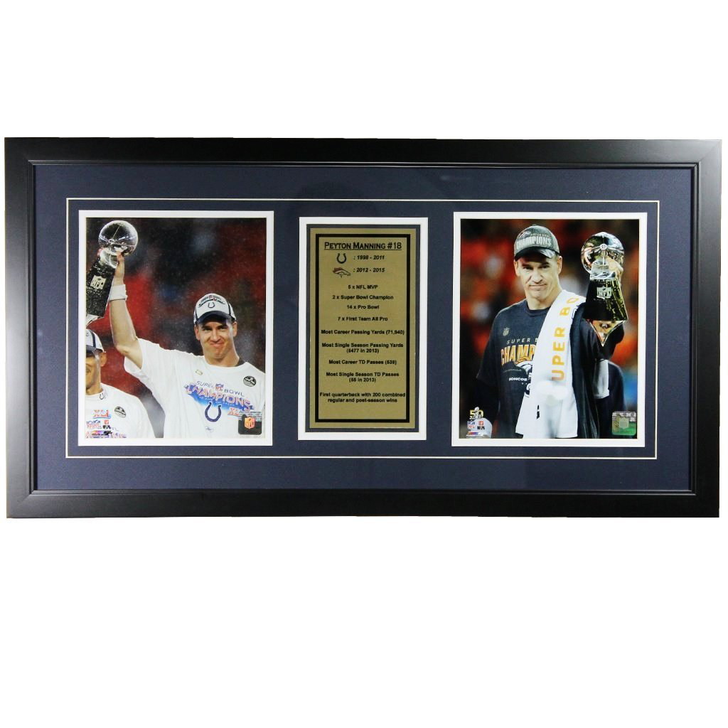 Peyton Manning Lombardi Trophy Framed Display
