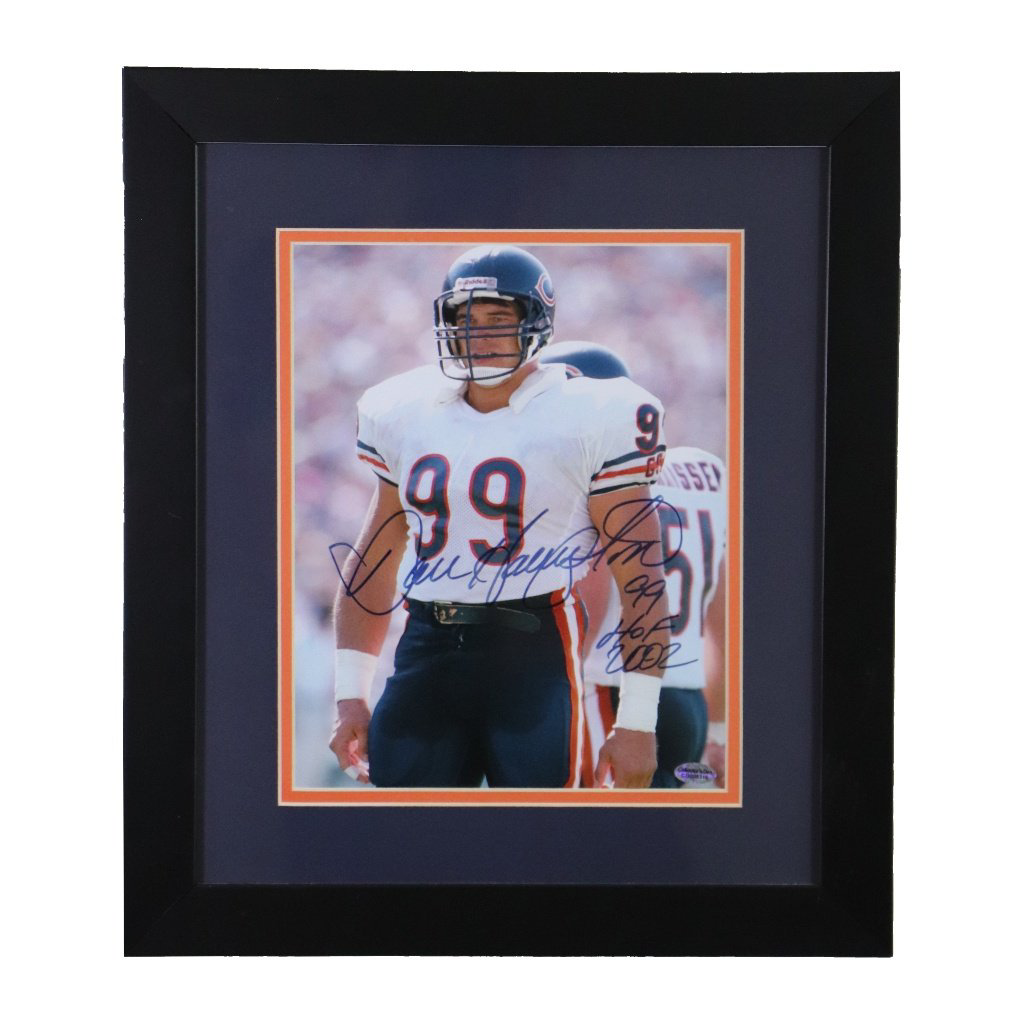 Dan Hampton Chicago Bears 'White Jersey' Autographed Framed 8x10