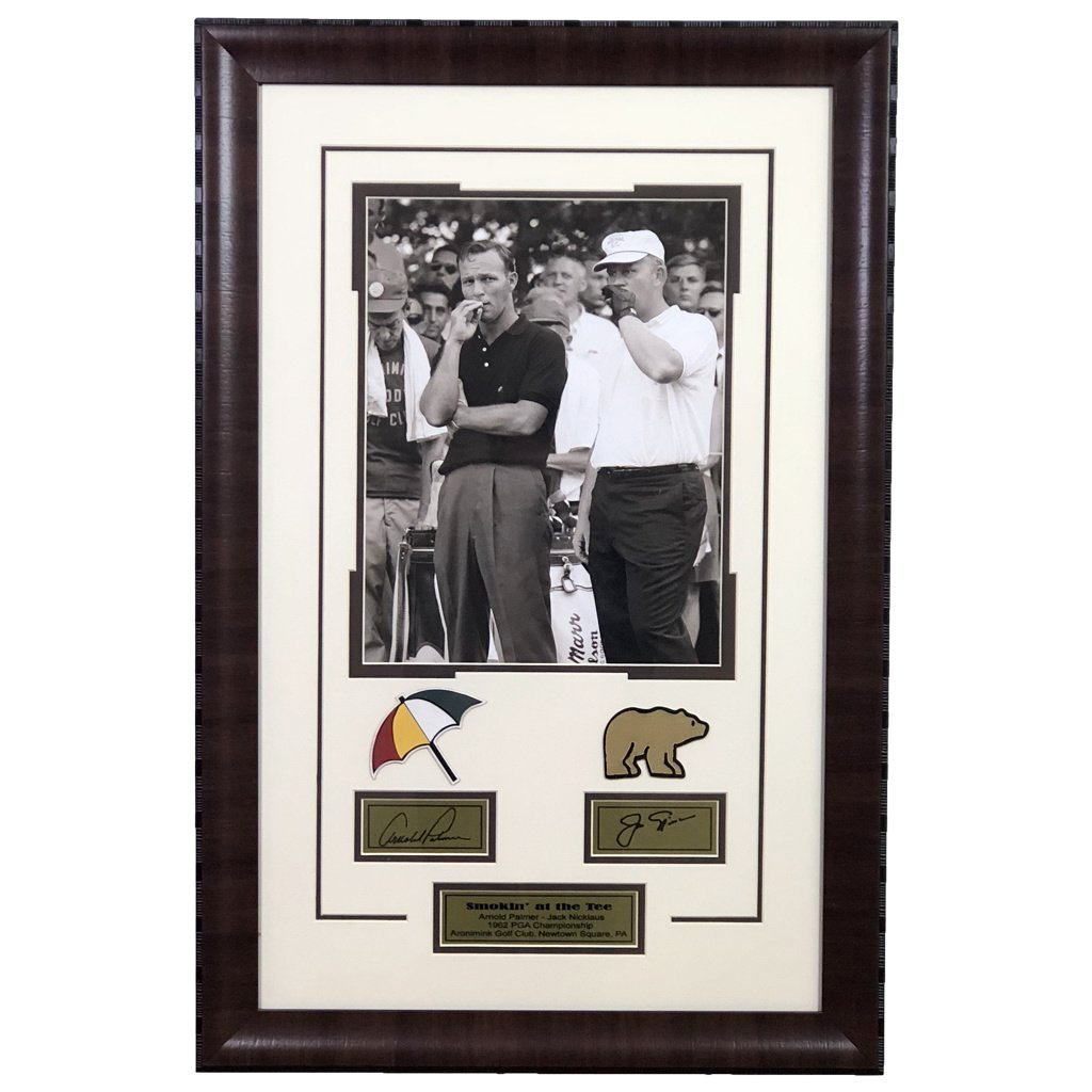 Jack Nicklaus and Arnold Palmer Replica Autograph Framed Display