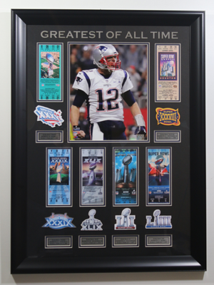 Tom Brady 6 Super Bowl Tickets Display
