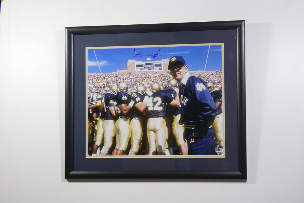 Lou Holtz Notre Dame Fighting Irish 'Looking Back' Autographed Framed 16x20