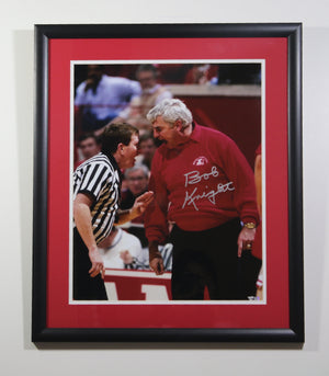 "Bob Knight ""YELLING AT REF"" Autographed Framed 16x20"